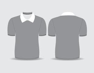 Vector illustration of gray polo t-shirt Front and back views