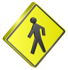 Pedestrian crossing street sign