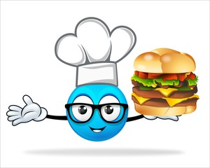blue people chef with pizza burger