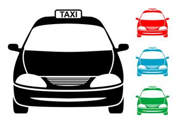 Pictograma taxi frontal con varios colores