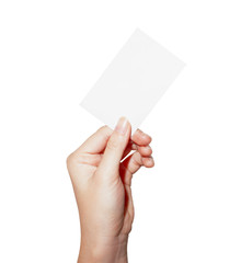 woman hand hold blank business card