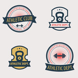 4 Athletic Dept., Club emblems vector illustration, eps10