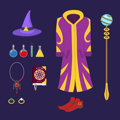 Set of magical equipment and clothing