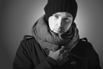 monochrome portrait of Fashionable Handsome Man in Scarf