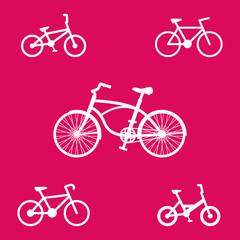 bicycle icons set on purple vector illustration, eps10