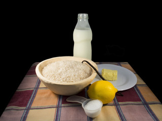 Ingredients of rice pudding
