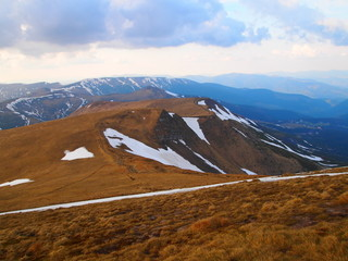 Carpathian mountains 21 under snow in spring