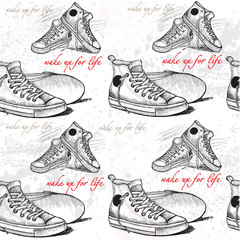 sneakers drawn in sketch style