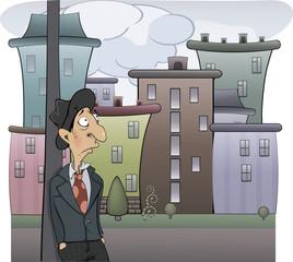 A sad man cartoon