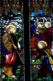 Jesus Christ and Mary Magdalene in stained glass poster