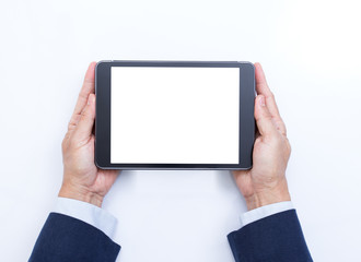Businessman hands with tablet computer on white background