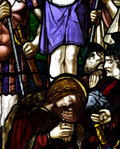 Mary Magdalene with the cross in stained glass - 74983974