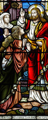 I am the resurrection and the life (Jesus in stained glass)