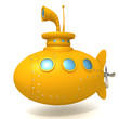 Leinwanddruck Bild - Submarine 3d illustration