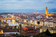 Florence at dusk, lights with buildings and skyline