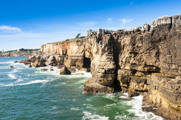 Cliffs of Boca de inferno (mouth of hell) in Cascais (Portugal)