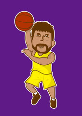cartoon basketball player slam dunk icon