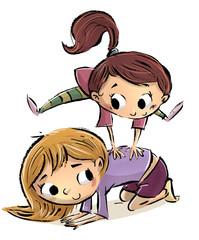niñas jugando a saltar