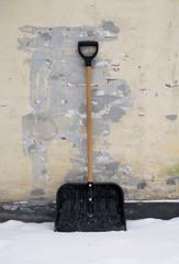 Snow shovel of black plastic