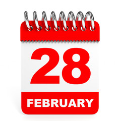 Calendar on white background. 28 February.