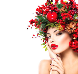 Christmas fashion model woman. New Year hairstyle and makeup