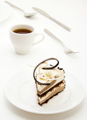 Slice of souffle cake on plate