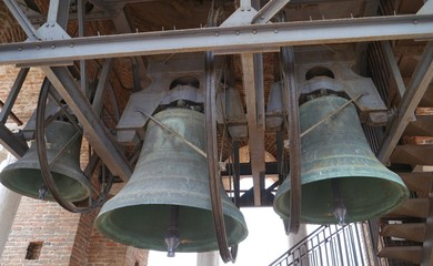 The bells of the Lamberti tower in Verona in Italy