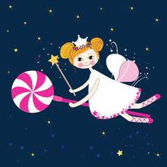 Lovely fairy with candy night vector