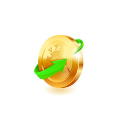 Green arrow on gold coin.