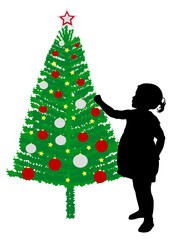 toddler girl putting decoration on christmas tree - vector