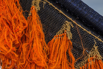 Fragment of a colored fishing net