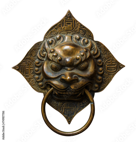 Handle door Chinese vintage style isolated with clipping path Poster