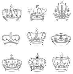 Set of 9 detailed crowns