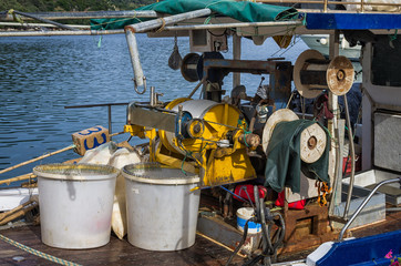 The equipment of a fishing vessel, in Lefkada, Greece