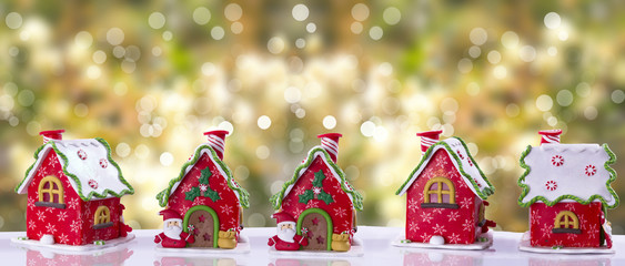 Christmas house decorated with multicolored glaze