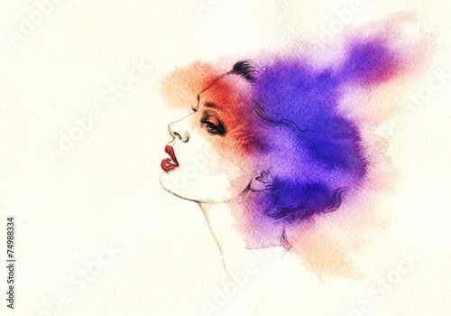 woman portrait  .abstract  watercolor .fashion background - 74988334