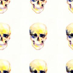 skull .seamless pattern.seamless texture.watercolor illustration
