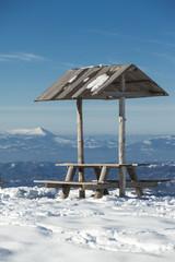 rest place on mountain landscape winter