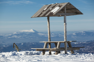 rest place on mountain landscape winter