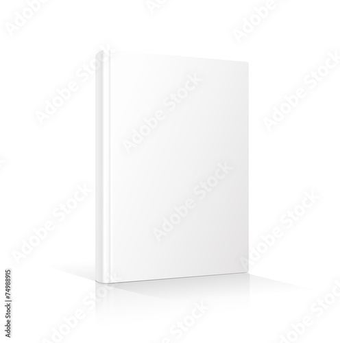 Blank vertical book cover template standing on white surface - 74988915
