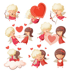 Set of cute boy and girl cupids.