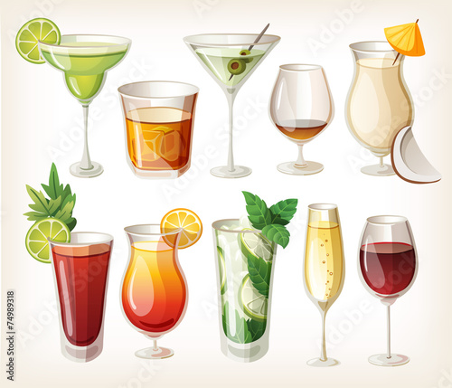 Collection of alcohol coctails and other drinks. - 74989318