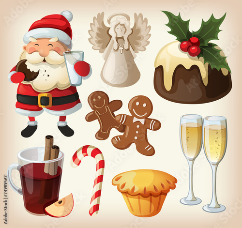 Set of festive food and decorations for christmas table - 74989567