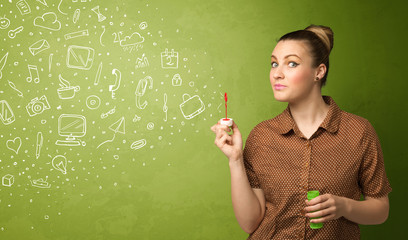 Cute girl blowing hand drawn media icons and symbols