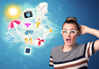 Happy joyful woman with sunglasses looking at summer icons