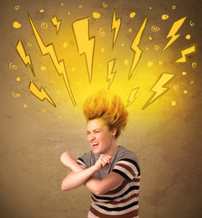 Young woman with hair style and hand drawn lightnings