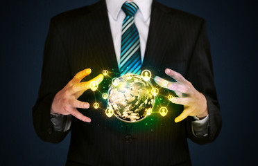 Businessman holding a social media globe