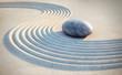 Leinwanddruck Bild Stein und Linien im Sand
