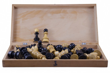 Open chess board with chess pieces isolated