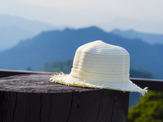bamboo hat placed on wooden log